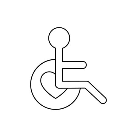 Disabled people help vector illustration isolated on white background. Voluntary, charity, donation icon.