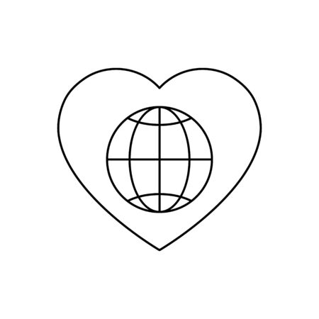 Globe icon inside heart vector illustration isolated on white background.