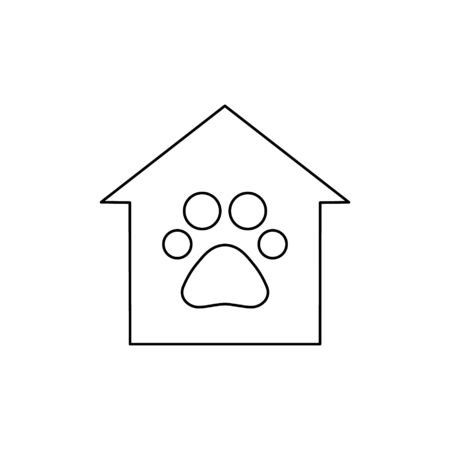 Animals help center vector illustration isolated on white background. Footprint, trace in house. Voluntary, charity, donation icon. Ilustração