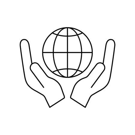 Globe icon in human hands vector illustration isolated on white background.