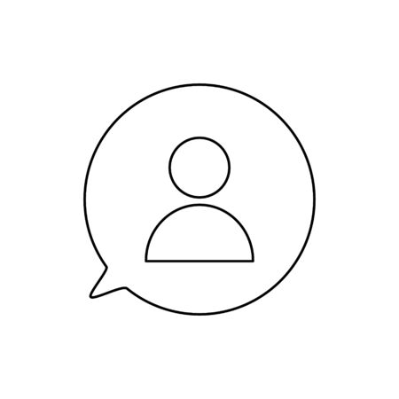 Human icon in speech babble isolated on the white background. Customer service support. Icon, care, customer, retention, patient, client, help, consumer, audience, service, inclusion. Voluntary, charity, donation.