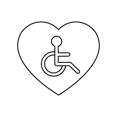 Disabled people help sign in heart vector illustration isolated on white background. Voluntary, charity, donation icon.