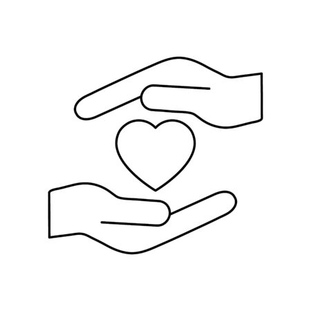Heart icon on the hand isolated on the white background. Voluntary symbol illustration.