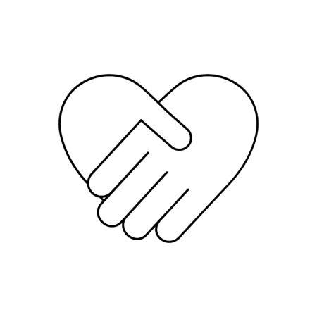Handshake icon in heart shape vector illustration isolated on white background Ilustração