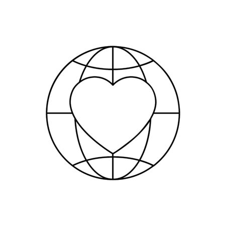 Heart in globe icon illustration isolated on white Ilustração