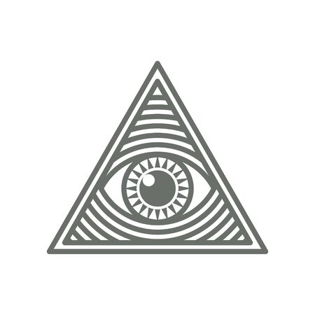 Human world eye in triangle shape. Illuminati logo, world order symbol all-seeing eye of providence. Masonic Lodge vector illustration isolated on white background