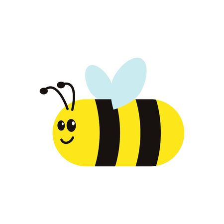 Lovely simple design of a yellow and black cute bee on a white background. Vector illustration isolated.