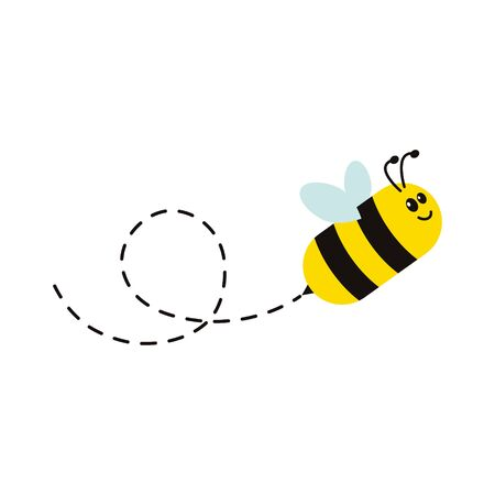 Bee flying on a dotted route vector illustration isolated on the white background