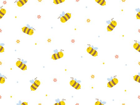 Seamless Pattern with flying bees. Vector Cartoon black and yellow bees isolated on white background. Ilustração