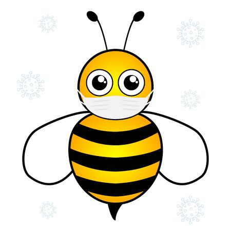 Bee cut cartoon wearing in surgical protective medical mask. Vector illustration isolated on white background. Protect against virus and bacteria.