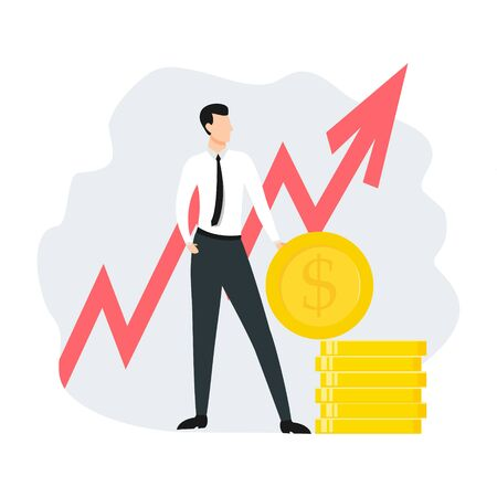 Businessman with coins vector illustration isolated on white background. Arrow growth.