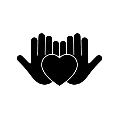 Heart black silhouette icon on the hand isolated on the white background. Voluntary symbol illustration.