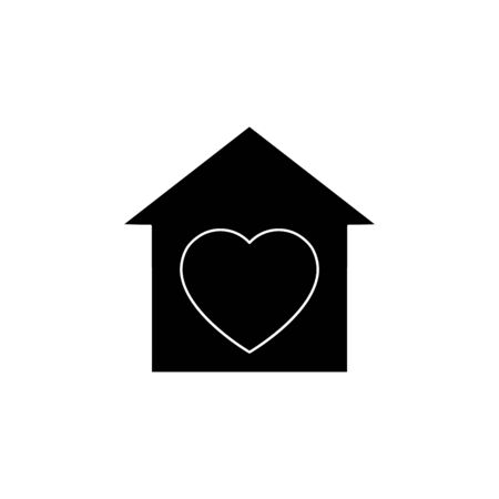 Voluntary center black silhouette vector illustration isolated on white background. Heart in the house. Charity, donation icon.