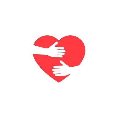 Hands hugging heart vector illustration. Voluntary symbol isolated on white background. World heart day.