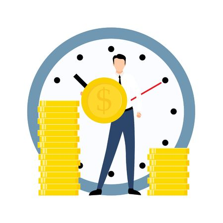 Exchange time with money. Business concept vector illustration isolated on white background. Worker give his time and receive payment.