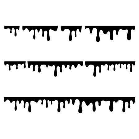 Black melt drips or liquid paint drops isolated on white background.