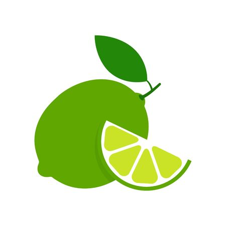 Lime set icon vector illustration isolated on white. Fruit citrus with pieces or slices.