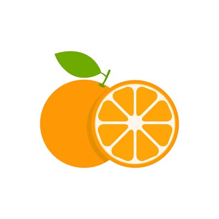 Orange set vector icon illustration isolated on white. Fruit citrus with pieces or slices.
