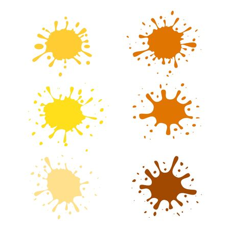 Honey splash and drops set of labels vector illustration isolated on white.