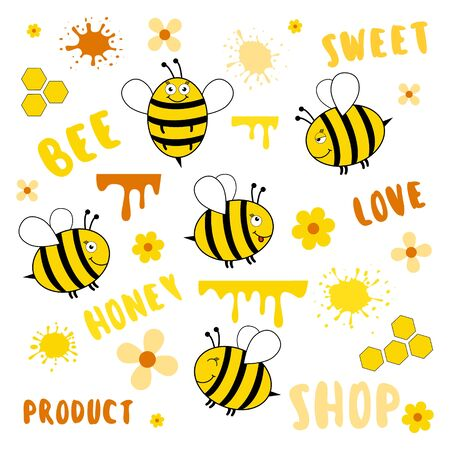 Set of bee, lettering, honey and other other beekeeping symbol vector isolated on white. Cartoon cute illustration.