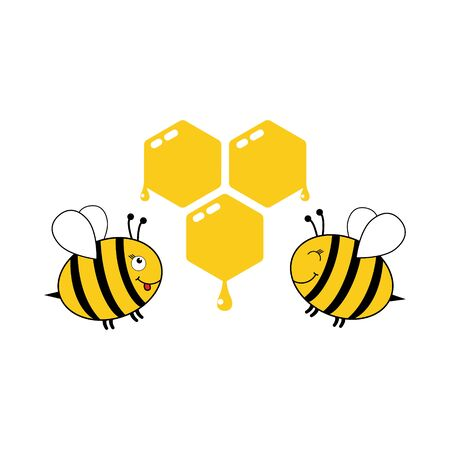 Cute bees with honeycomb vector illustration isolated on white