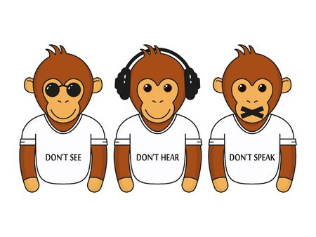Three wise dressed monkeys with headphones, glasses and closed mouth. Don't see, don't hear, don't speak vector illustration isolated on white.