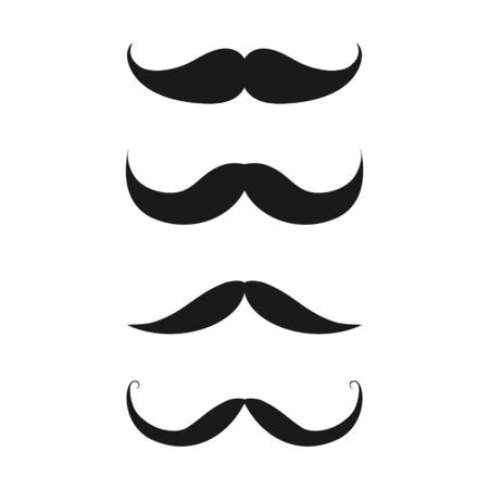 Old style mustaches set vector icon isolated on white background
