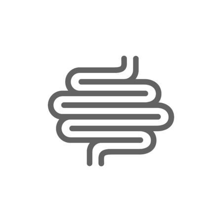 Intestines line icon. Human intestinal tract vector illustration isolated on white.