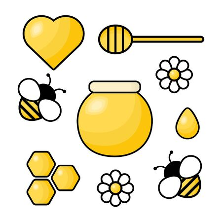 Honey bee icon set with heart, drop, spoon, comb, honey jar and flower. Cartoon vector illustration isolated on white.