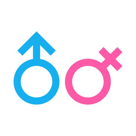 Gender symbols blue and pink vector isolated