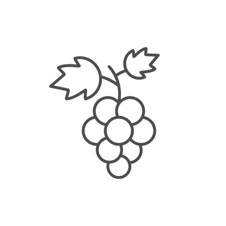 Grapes fruit icon vector illustration isolated on white. Wine or juice logo.