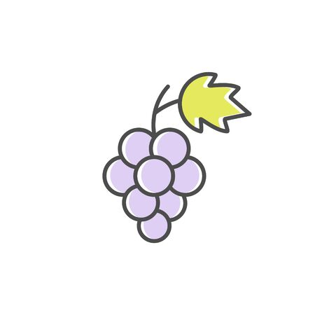 Grape icon. Logo sign for fruits, wine, juice and healthy vegan food vector illustration isolated on white.