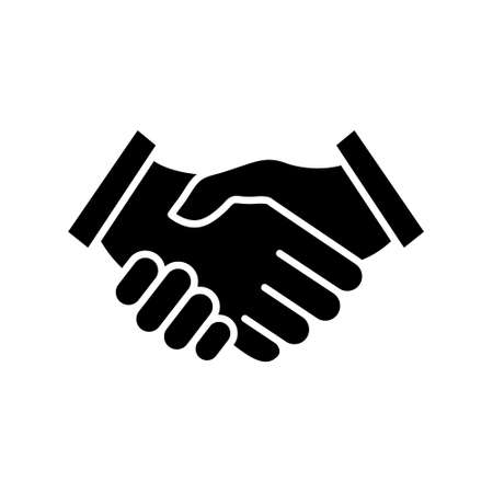 Handshake icon. Black arms gesture silhouette. Business agreement concept. Vector illustration isolated on white. Иллюстрация