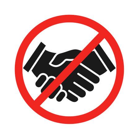 No handshake icon. Prohibition symbol vector illustration isolated on white.