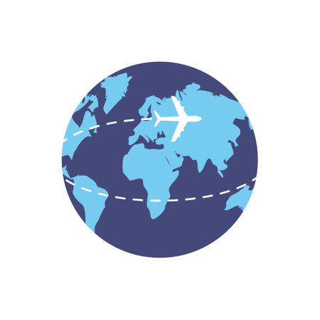 Plane flying around the world. Travel the world flat vector illustration isolated on white.
