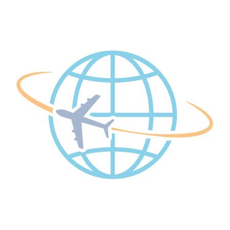 Airplane flying around world vector illustration isolated on white Иллюстрация