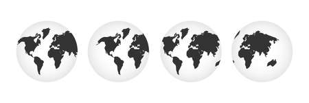 World map set. Earth symbol collection vector illustration isolated on white.