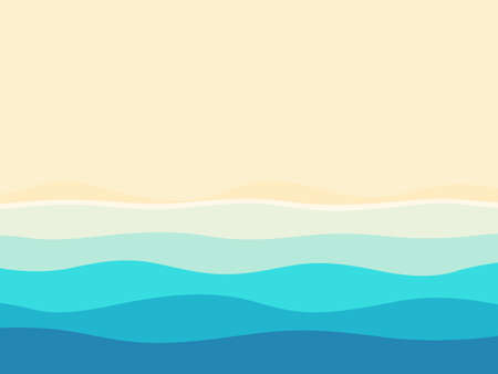 Abstract blue sea and beach summer background with waves and white cope space. Vector illustration Иллюстрация