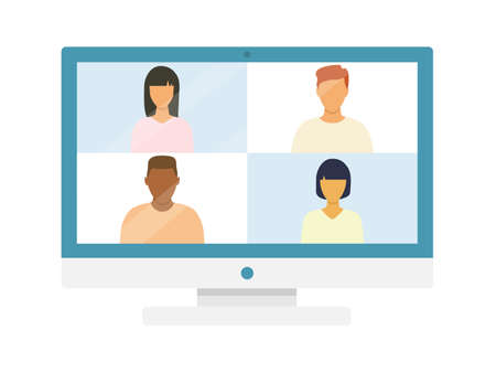 Computer with group of people taking in video conference. Online meeting with multicultural friends. Vector illustration isolated on white.