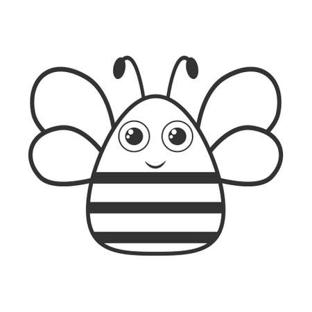 Cute bee black and white shape. Vector bee emoji illustration isolated