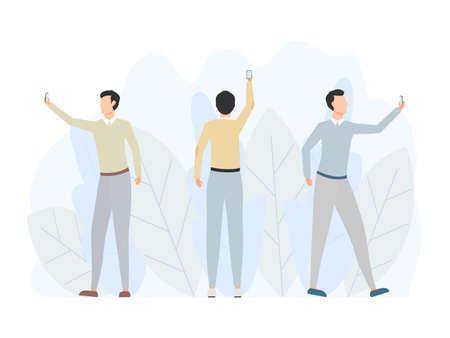 Men taking selfie. People using smartphones. Modern communication technology vector illustration isolated on white