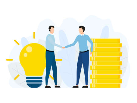 Handshake of two business men. Agreement partnership concept. Businessman pay money for idea. Vector illustration isolated on white. Иллюстрация