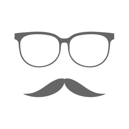 Glasses and mustache line black vector icon.