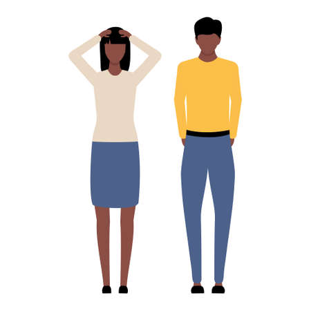 Man and woman problem. Emotional african people vector illustration. Conflict in family relationship. Sad american husband with wife.