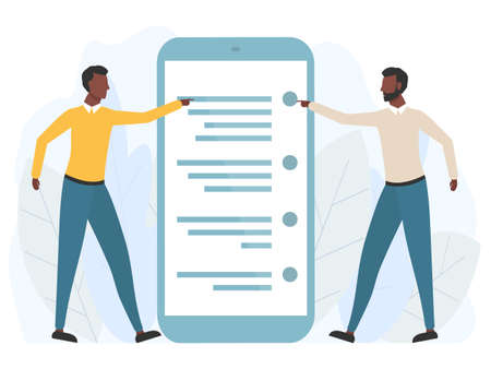 Two young african men standing near big smartphone and using phone. Business technology communication concept vector illustration isolated on white.  イラスト・ベクター素材