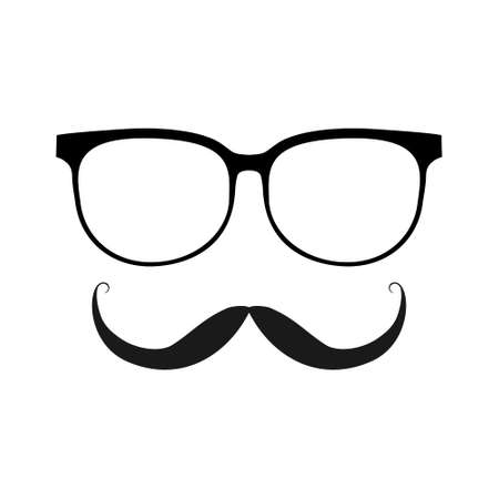 Glasses and mustache line black vector icon.