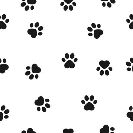 Dog paw seamless pattern background. Animal footprint vector illustration on white.