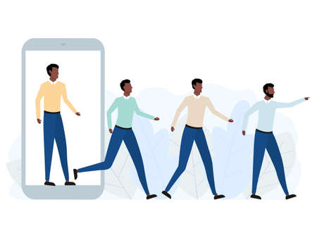 Group of african men walking out of big phone. Virtual and real world concept. Referral marketing program concept. Business teamwork. Vector illustration isolated on white  イラスト・ベクター素材