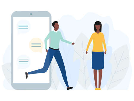 Man go out of big phone to real world. Young african man and woman virtual and real communication and meeting. Vector illustration isolated on white  イラスト・ベクター素材