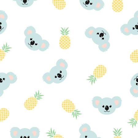 Koala pattern seamless vector background. Cute koala print with pineapples illustration isolated on white.  イラスト・ベクター素材